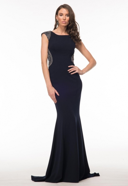 GLOW G593 Beaded Cap Sleeve Trumpet Skirt Prom Dress Evening Gown